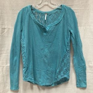 Free People Patches of Lace Crochet Henley Top EUC